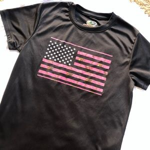 MOSSY OAK • Pink American Flag Camo Dri-Fit Top